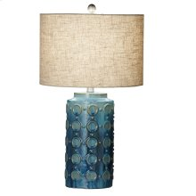 Blue Circle Reactive Glaze Table Lamp. 150W Max. 3 Way Switch.