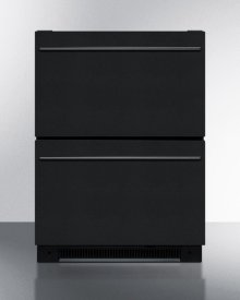 Two Drawer All-refrigerator for Built-in Use In All Black Finish, Auto Defrost With Digital Thermostat and Alarm