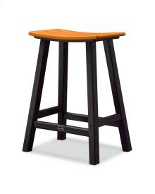 "Black & Tangerine Contempo 24"" Saddle Bar Stool"