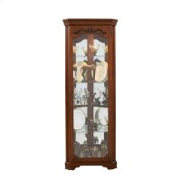 Carved 5 Shelf Corner Curio Cabinet in Eden Oak Brown Product Image