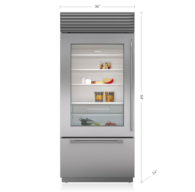 "Subzero36"" Classic Over-And-Under Refrigerator/freezer With Glass Door"
