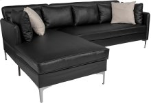 Back Bay Upholstered Accent Pillow Back Sectional with Left Side Facing Chaise in Black Leather