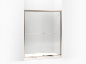 """Crystal Clear Glass With Anodized Brushed Bronze Frame Sliding Shower Door, 70-5/16"""" H X 56-5/8 - 59-5/8"""" W, With 1/4"""" Thick Crystal Clear Glass Product Image"""