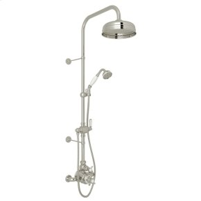 Polished Nickel Perrin & Rowe Edwardian Thermostatic Shower Package with Edwardian Cross Handle