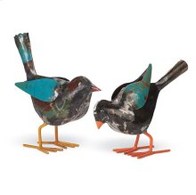 Recycled Metal Sparrows, Set of 2