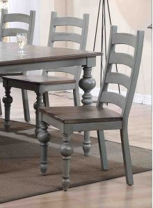 Ladder Dining Chair (2/Ctn) - Weathered Grey/Oak Finish