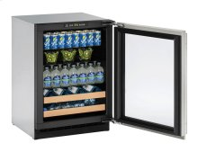 "2000 Series 24"" Beverage Center With Stainless Frame (lock) Finish and Left-hand Hinged Door Swing"