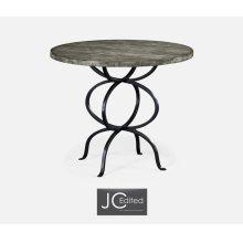 Antique Dark Grey Bistro Style Panelled Round Centre Table