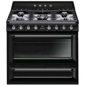 "SmegFree-standing Dual Fuel Cavity ""Victoria"" Range Approx. 36"" Stainless steel - Glossy Black Enamel"