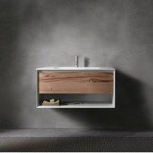 "45° UP series 900 vanity w/shelf, White Matte frame/Vintage Oak front; 35 1/2""w x 19""h x 20""d"