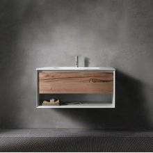 "45° UP series 900 vanity w/shelf, White Matte frame/Vintage Oak front; 35 1/2""w x 19""h x 20""d"