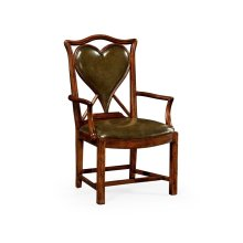 """Playing Card """"Heart"""" Armchair with Medium English Library Green Leather"""