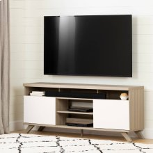 Scandinavian TV Stand with Doors for TVs up to 75\ - Soft Elm and Pure White