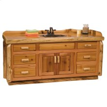 Vanity Base - 72-inch - Natural Cedar - Sink Center