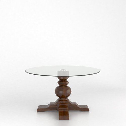 Round glass table with pedestal