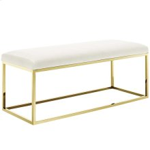 Anticipate Fabric Bench in Gold Ivory
