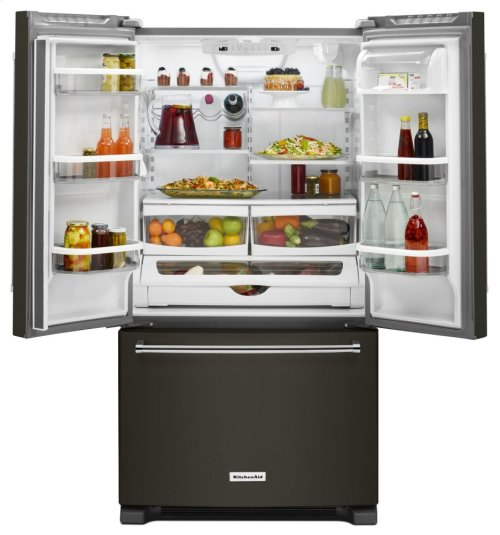 [CLEARANCE] 20 cu. ft. 36-Inch Width Counter-Depth French Door Refrigerator with Interior Dispense - Black Stainless. Clearance stock is sold on a first-come, first-served basis. Please call (717)299-5641 for product condition and availability.