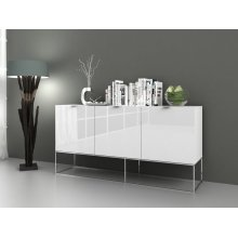The Vizzione High Gloss White Lacquer / Stainless Steel Buffet