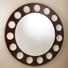 Domino Round Mirror-Walnut/Ivory