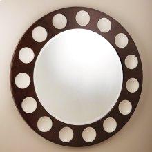 Domino Round Mirror-Walnut/Ivory