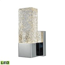 Cubic Ice 1 Light Sconce in Polished Chrome with Solid Textured Glass