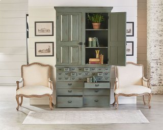 File Cabinet Armoire With Reverie Accent Chairs