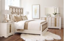 Tower Suite - Pearl Finish Metal Panel Bed Queen 5/0