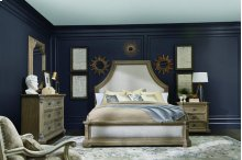 Arch Salvage Eastern King Bryce Upholstered Bedroom Group: King Bed, Nightstand, Dresser & Mirror