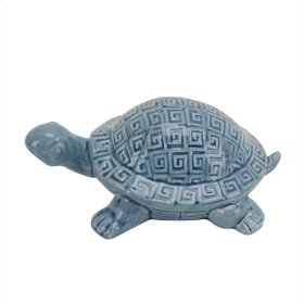 Ceramic Turtle Figure, Blue