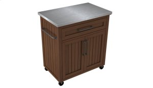 This rustic inspired kitchen cart provides multiple storage options and a s...