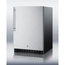 Indoor/outdoor beverage center for built-in use, with lock, digital thermostat, stainless steel door, and thin handle