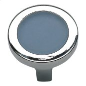 Spa Blue Round Knob 1 1/4 Inch - Polished Chrome