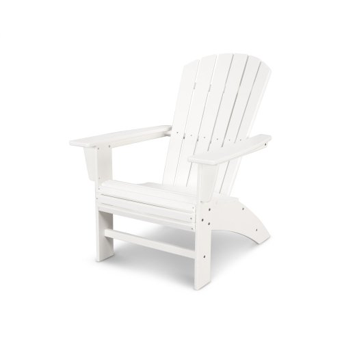 Vintage White Nautical Curveback Adirondack Chair in Vintage Finish