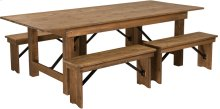 "8' x 40'' Antique Rustic Folding Farm Table and Four 40.25""L Bench Set"