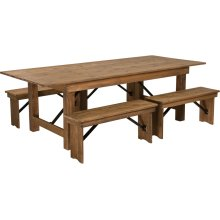 "8' x 40'' Antique Rustic Folding Farm Table and Four 40.25""L Bench Set"