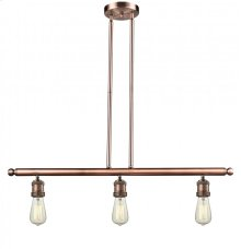 213-AC - BARE BULB 3 LIGHT ISLAND CHANDELIER
