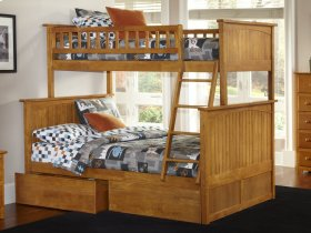 Nantucket Bunk Bed Twin over Full with Flat Panel Bed Drawers in Caramel Latte