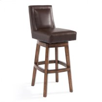 "Armen Living Wayne 30"" Bar Height Swivel Wood Barstool in Chestnut Finish and Kahlua Pu Product Image"
