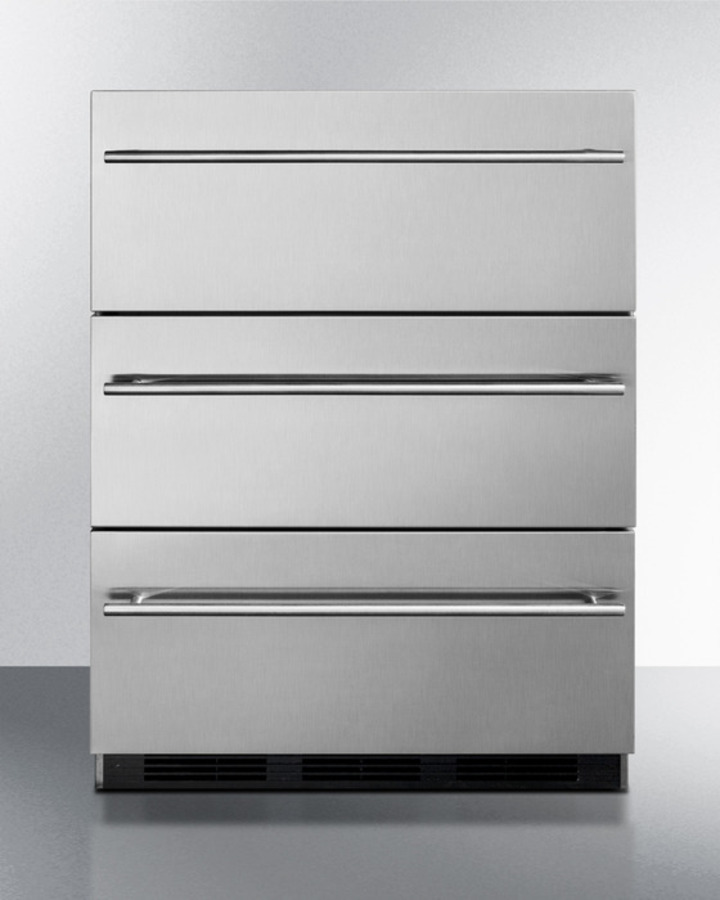 Summit Commercially Approved Three Drawer Refrigerator In Stainless Steel  For Built In Undercounter Use, With Thin Handles