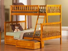 Woodland Bunk Bed Twin over Full with Raised Panel Bed Drawers in Caramel Latte