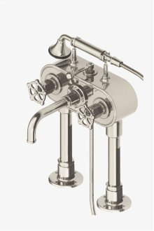 Regulator Exposed Deck Mounted Tub Filler with Handshower and Metal Wheel Handles STYLE: RGXT41