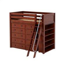 High Loft w/ Angle Ladder, 5 Drawer Dresser, Narrow 5 Drawer Dresser & Bookcase : Twin : Chestnut : Panel