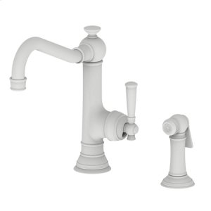 Matte White Single Handle Kitchen Faucet with Side Spray