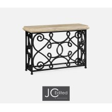 "54"" Width Rectangular Limed Wood Console with Wrought Iron Base"