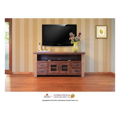 "62"" TV Stand w/2 glass doors and 4 drawers"