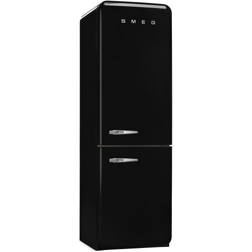 50'S Retro Style refrigerator with automatic freezer, Black, Right hand hinge