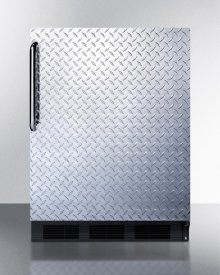 Freestanding Counter Height Refrigerator-freezer for Residential Use, Cycle Defrost With A Diamond Plate Wrapped Door, Towel Bar Handle, and Black Cabinet