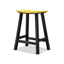 "Black & Lemon Contempo 24"" Saddle Bar Stool"