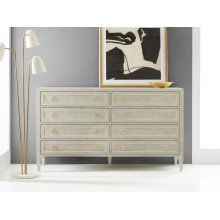Gustavian Dresser, Painted Antique Grey With Gold Leaf Detailing
