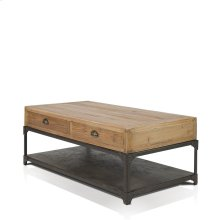Olie Rectangular Coffee Table with 2 Drawers, 1 Metal Shelf